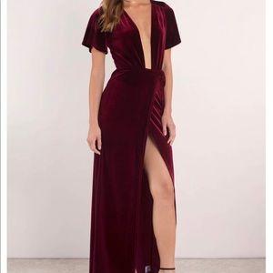Tobi Maxi Wrap Dress Crushed Velvet, Wine